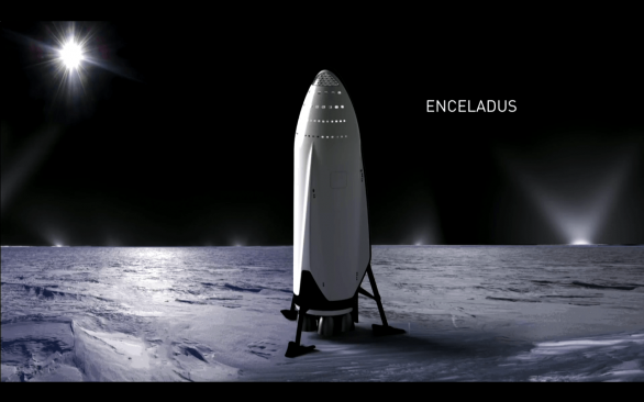 ITS na Enceladu, vizualizace Autor: SpaceX
