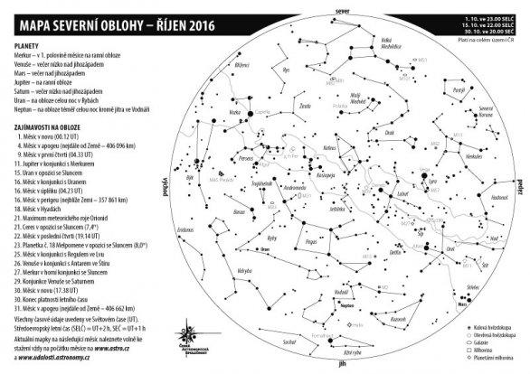 Mapka oblohy v říjnu 2016. Autor: Aleš Majer, KaL.