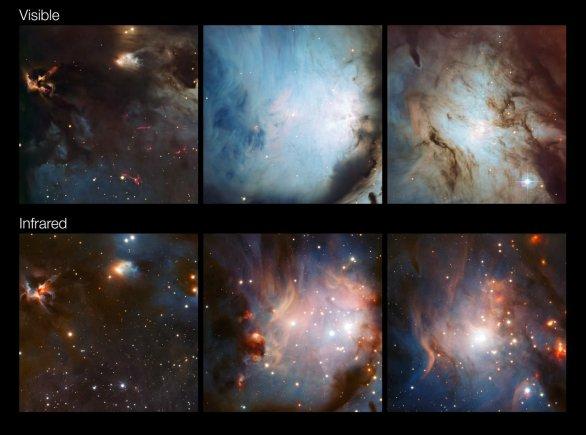 Srovnání částí mlhoviny M78 ve viditelném světle a infračerveném záření Autor: ESO/Igor Chekalin