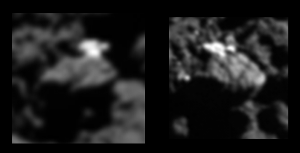 Modrý kandidát byl vyřazen díky tomuto snímku z 21. července 2016, kde vidíme, že jde o kus ledu Autor: obrázek: ESA/Rosetta/MPS for OSIRIS Team MPS/UPD/LAM/IAA/SSO/INTA/UPM/DASP/IDA; analýza: L. O'Rourke