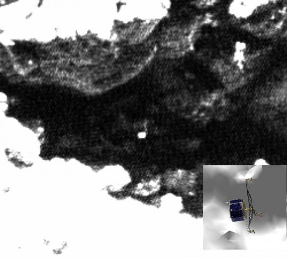Obrázek pořízený 1. června 2016 spolu s 3D modelem Philae Autor: obrázky: ESA/Rosetta/MPS for OSIRIS Team MPS/UPD/LAM/IAA/SSO/INTA/UPM/DASP/IDA; 3D Philae: CNES/ A.C