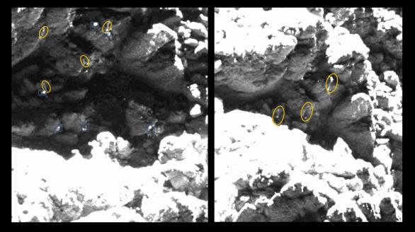 "Dva obrázky z 25. května 2016 s vyznačením stejných ""ledových"" struktur v okolí červeného kandidáta Autor: obrázky: ESA/Rosetta/MPS for OSIRIS Team MPS/UPD/LAM/IAA/SSO/INTA/UPM/DASP/IDA; analýza: L. O'Rourke"