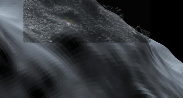 Snímek OSIRIS a 3D model skalnatého nosu kde vidíme rozdíly nejlépe Autor: ESA/Rosetta/SGS/R. Andres; vložený obrázek: ESA/Rosetta/MPS for OSIRIS Team MPS/UPD/LAM/IAA/SSO/INTA