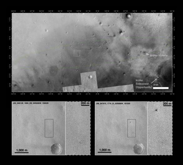 Místo dopadu EDM Schiaparelli fotografované z MRO (vidíme místo po explozi modulu, který zřejmě dopadl z větší výšky, nebo větší rychlostí, než se očekávalo. Níže světlá skvrna je 12m padák). Všimněte si také 1 km velkého kráteru Victoria, který navštívilo vozítko Opportunity, které je nyní na okraji kráteru Endeavour o průměru 22 km. Autor: NASA/JPL-Caltech/MSSS, Arizona State University; inserts: NASA/JPL-Caltech/MSSS