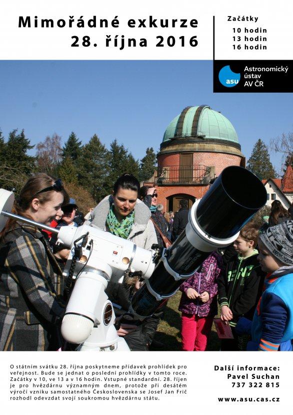 Mimořádné prohlídky ondřeovské hvězdárny pro veřejnost 28. října 2016 Autor: AsÚ AV ČR
