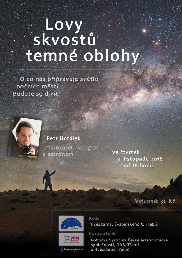 Přednáška Lovy skvostů temné oblohy na třebíčské hvězdárně 3. listopadu 2016. Autor: Hvězdárna Třebíč.