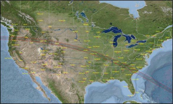 Pás zatmění Slunce 21. srpna 2017 na území USA. Autor: Eclipsophile.com