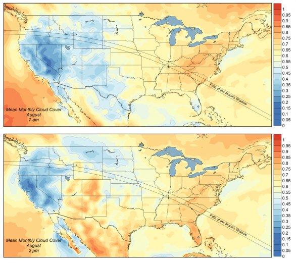 Průměrný výskyt oblačnosti nad USA v den zatmění dopoledne (nahoře) a odpoledne (dole). Čím je barva více do modra, tím méně oblačnosti se nad danou lokalitou 21. srpna očekává. Autor: Jay Anderson/Eclipsophile.com