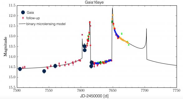 Snímek týdne ESA: Světelná křivka (závislost jasnosti na čase) z mikročočkové události Gaia16aye, získaná na základě údajů z družice Gaia (tmavé skvrny) a doložena údaji z pozemních navazujících dalekohledů (každá barva označuje odlišnou observatoř). Černá křivka zobrazuje v současnu nejlepší mikročočkový model, vycházející z výpočtů polského astronoma Przemka Mrože. Prudká maxima se nazývají ostré přechody, jak je vysvětleno dále v textu. Autor: ESA/Gaia/DPAC, GSAP (IfA, Cambridge), Lukasz Wyrzykowski, AsÚ AV ČR.