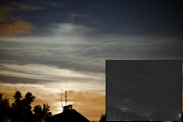 Red Sprite nad Slovenskem 21. srpna 2016 ve 22:05 SELČ ve vzdálenosti cca 200 km. Zachycen přes SONY A7S + Samyang 85 mm f/1.4 (f/2), ISO 2500, 2 s. Využito UFO Capture, SONY Effio. Autor: Daniel Ščerba