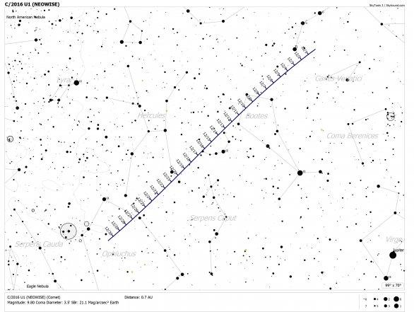Vyhledávací mapka pro kometu C/2016 U1 NEOWISE. Mějte na paměti, že mapka má dosah jen 7. magnitudy, kometa je velmi difúzní a bude tedy třeba vyhledat detailnější mapku pro daný den, kdy se rozhodnete pozorovat. Autor: Cometchasing.skyhound.com