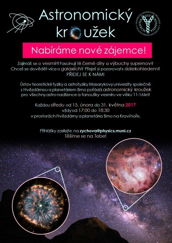 Astronomický kroužek 2017 na brněnské hvězdárně - nabíráme nové zájemce! Autor: Lenka Zychová