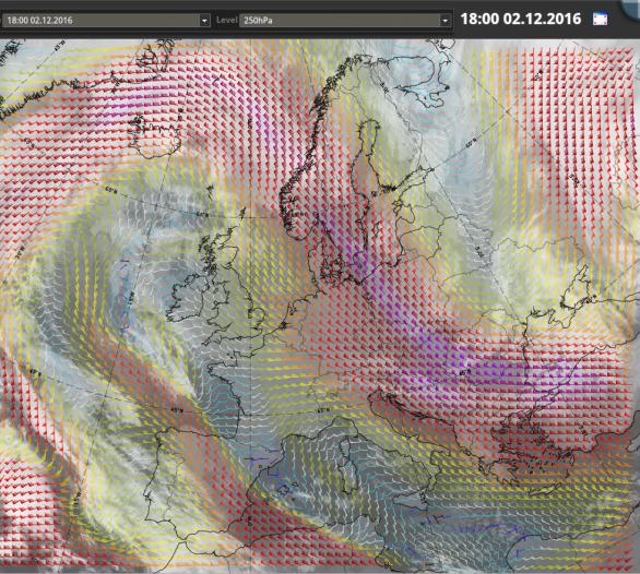 Proudění v hladině 250 hPa (přibližně v 10 km). Je zřejmé, že nejsilnější část výškového proudění procházela přes Slovensko a Maďarsko. Autor: EUMeTrain.