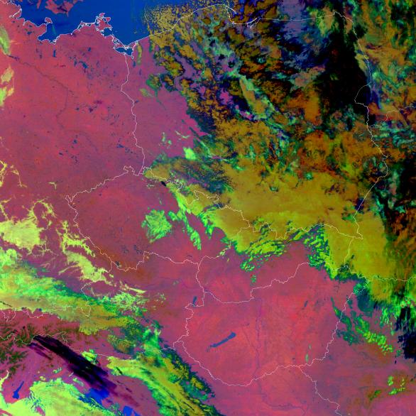 Ukázky snímků ze družice Suomi-NPP pro noc s airglow 2./3. prosince nad Slovenskem a Maďarskem - noční mikrofyzikální RGB produkt. Autor: Družice Suomi NPP.