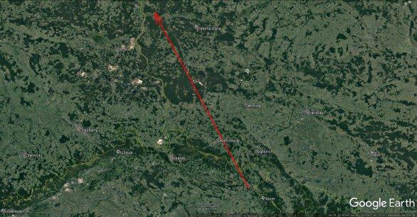 Projekce dráhy bolidu 16. prosince 2016 nad zemí. Autor: Google/Pavel Spurný.