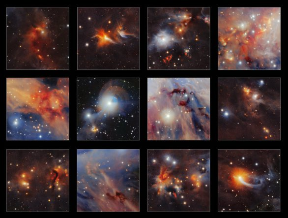 Výběr toho nejlepšího z nového záběru molekulárního oblaku Orion A pořízeného v infračerveném záření pomocí dalekohledu VISTA. Dobře patrná je řada podivných struktur včetně rudých výtrysků z velmi mladých hvězd, temných oblaků prachu a drobných velmi vzdálených galaxií ležících daleko mimo Galaxii, které pozorujeme skrze tento oblak. Autor: ESO/VISION survey