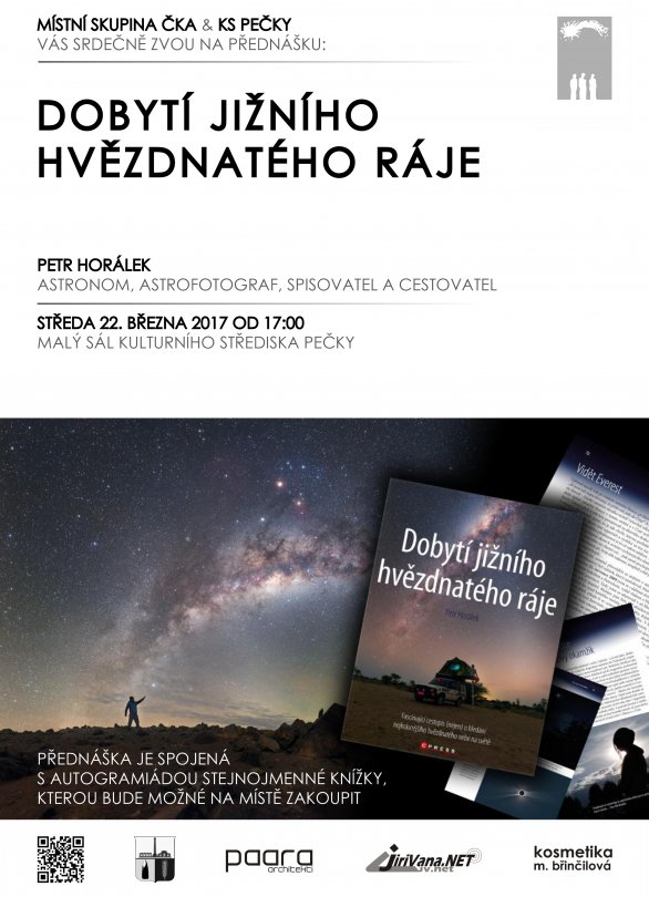 Přednáška Dobytí jižního hvězdnatého ráje 22. března 2017 v Pečkách. Autor: KSM Pečky.