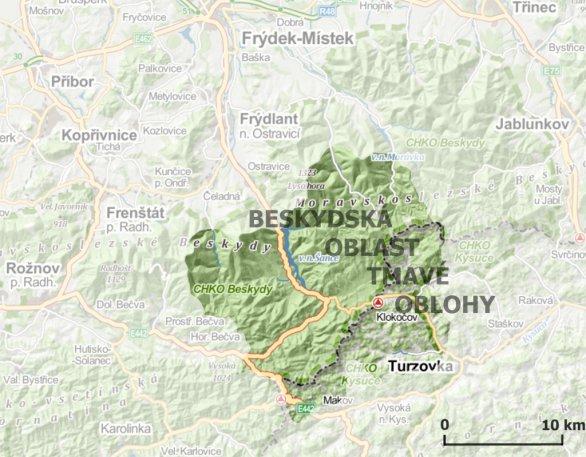 Mapa Beskydské oblasti tmavé oblohy. Autor: BOTO.