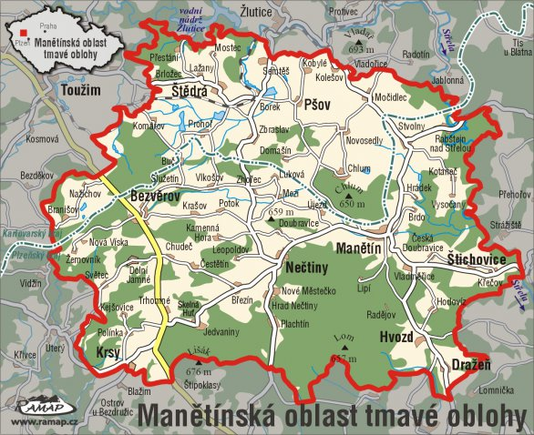 Mapa Manětínské oblasti tmavé oblohy. Autor: MOTO.