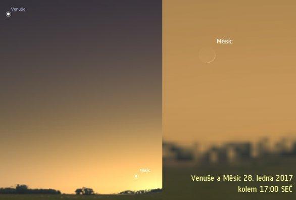 Venuše a Měsíc 28. ledna 2017, simulace ze Stellaria
