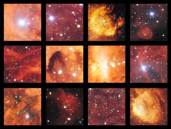 Mozaika zachycuje výběr těch nejpůsobivějších zákoutí z působivého snímku pořízeného pomocí dalekohledu ESI/VST (VLT Survey Telescope), který zachycuje mlhoviny Kočičí tlapka (Cat's Paw Nebula, NGC 6334) a Humr (Lobster Nebula, NGC 6357). Jedná se o oblasti s aktivními procesy hvězdotvorby, ve kterých mladé hvězdy svým zářením nutí svítit vodík ve svém okolí charakteristickým odstínem červené barvy. Velmi bohaté pole obsahuje rovněž řadu tmavých prachových pásů. Kredit: ESO Autor: ESO
