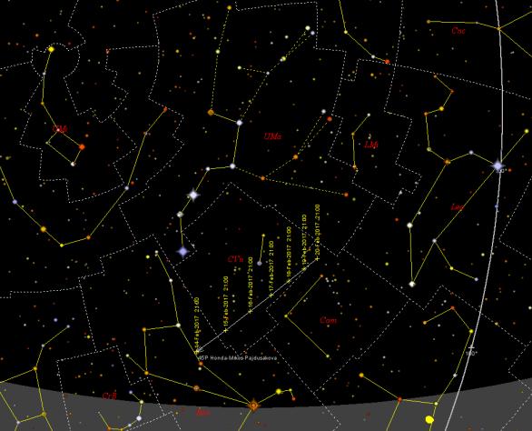 Dráha komety 45P Honda-Mrkos-Pajdušáková na večerní obloze Autor: SkyMap.