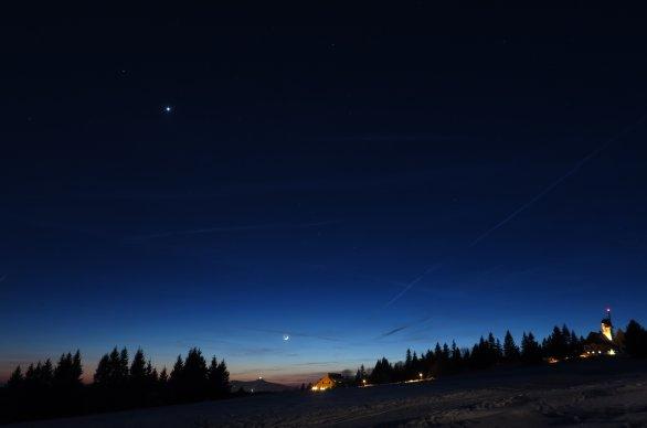 Měsíc, Venuše a Mars večer 29. ledna 2017 Autor: Martin Gembec