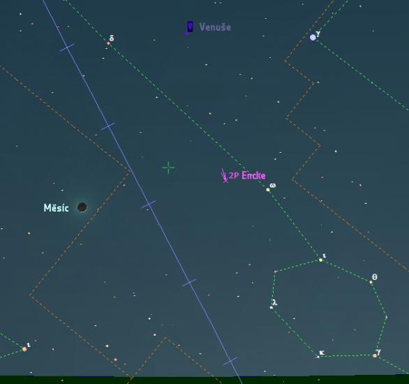Měsíc, Venuše a 2P/Encke 28. února 2017. Data: Guide 9