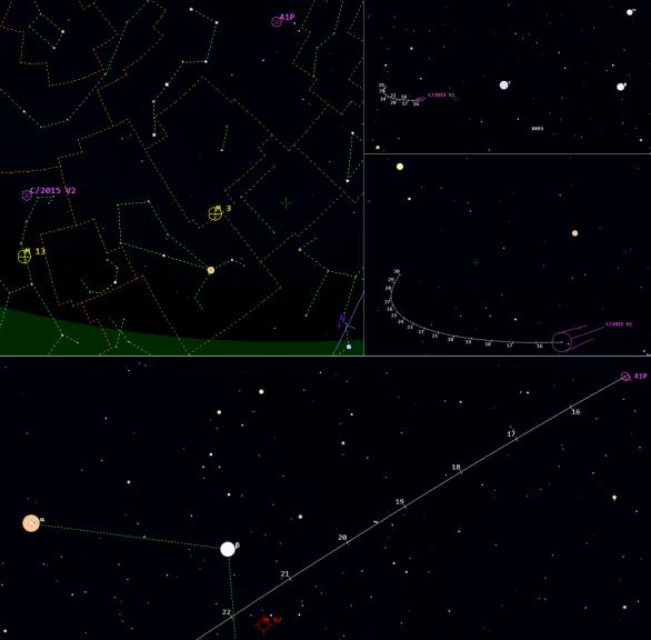 Mapky s polohami komet v 11. týdnu 2017. Data: Guide 9
