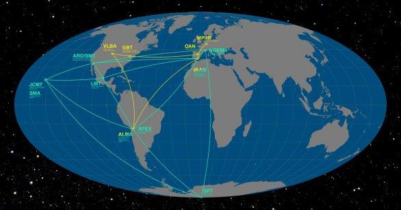 Světové observatoře zapojené do historického pozorování černé díry. Autor: ESO/O. Furtak