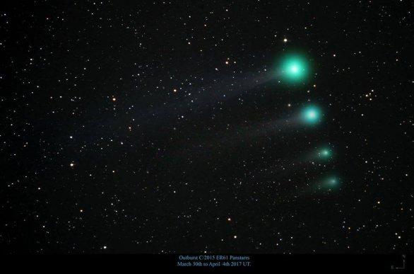 Vývoj komety C/2015 ER61 (PanSTARRS) v prvních dubnových dnech Autor: Justin Tilbrook