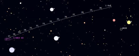 Mapa poloh komety C/2015 V2 (Johnson) v 16. a 17. týdnu 2017. Data: Guide 9