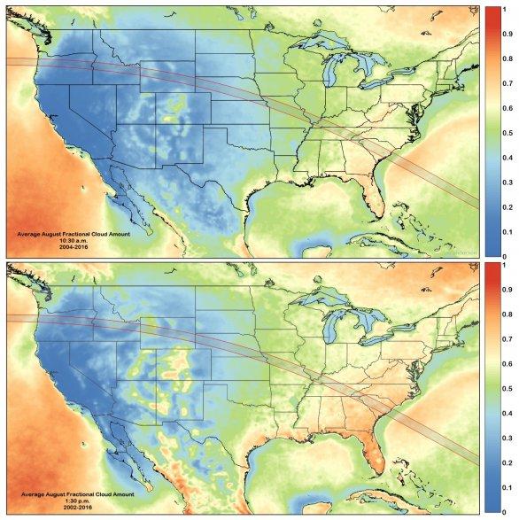 Obr. 2.: Statistika výskytu oblačnosti v ranních a dopoledních hodinách nad územím USA pro den zatmění (21.8.20170. Autor: Jay Anderson/Eclipsophile.com