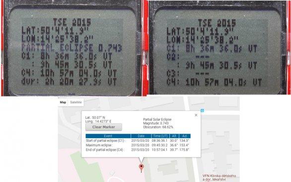 Obr. 12.:Parametry zatmění určené aplikaci GPS-ECLIPSE-INO a porovnání se stejnými hodnotami ze stránek NASA (údaje se týkají zatmění Slunce z 20.3.2015, které z území ČR bylo pozorováno jako částečné). Autor: Stanislav Daniš