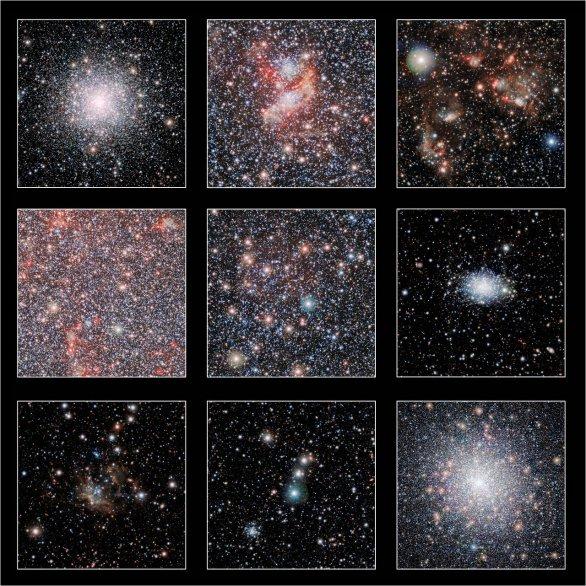 Výřezy zachycují ta nejpůsobivější místa mohutného infračerveného snímku naší sousední galaxie – Malého Magellanova oblaku, který byl pořízen pomocí dalekohledu VISTA na observatoři ESO/Paranal v Chile. Hvězdokupa na panelu vpravo dole je 47 Tucanae, která patří k naší Galaxii a je tady mnohem blíže než Malý Magellanův oblak. Autor: ESO/VISTA VMC