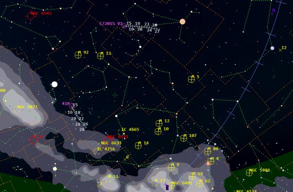 Komety ve 20. a 21. týdnu 2017. Přehledová mapa z programu Guide 9