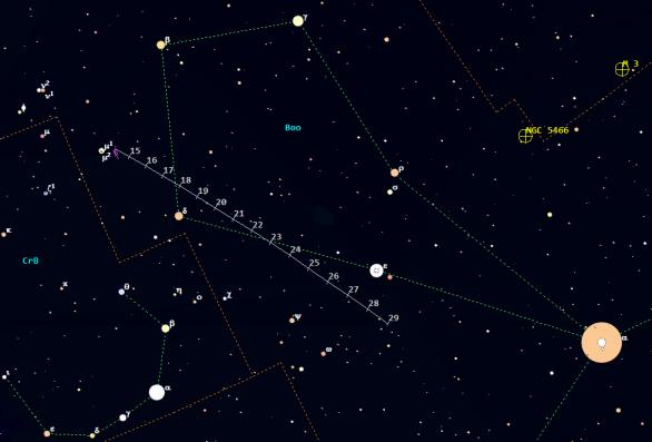 Mapa poloh komety C/2015 V2 (Johnson) ve 20. a 21. týdnu 2017. Data: Guide 9