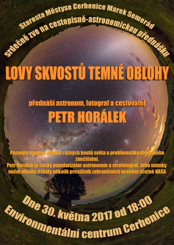Přednáška Lovy skvostů temné oblohy 30. května 2017 v městě Cerhenice. Autor: EC Cerhenice.