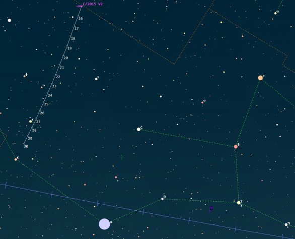 Polohy komety C/2015 V2 (Johnson) v červnu 2017. Data: Guide 9