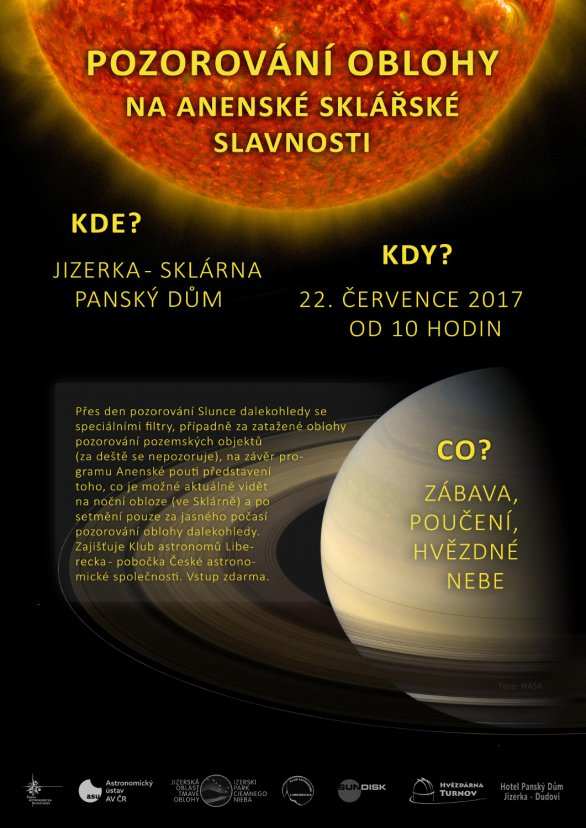 Pozorování oblohy na Anenské sklářské slavnosti 22. července 2017. Autor: AsÚ AV ČR.