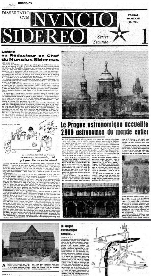 """Faksimile titulní stránky 1. čísla deníku """"Dissertatio cum Nuncio Sidereo II"""", jež vyšlo pro účastníky XIII. valného shromáždění IAU, 20. 8. 1967. Konalo se v PF UK, jejíž fotografie je rovněž na titulní stránce zobrazena Autor: Jiří Grygar"""