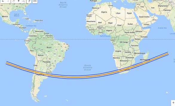 Pás zákrytu procházející Argentinou a Jižní Afrikou Stín se pohyboval po povrchu rychlostí 24 km/s.