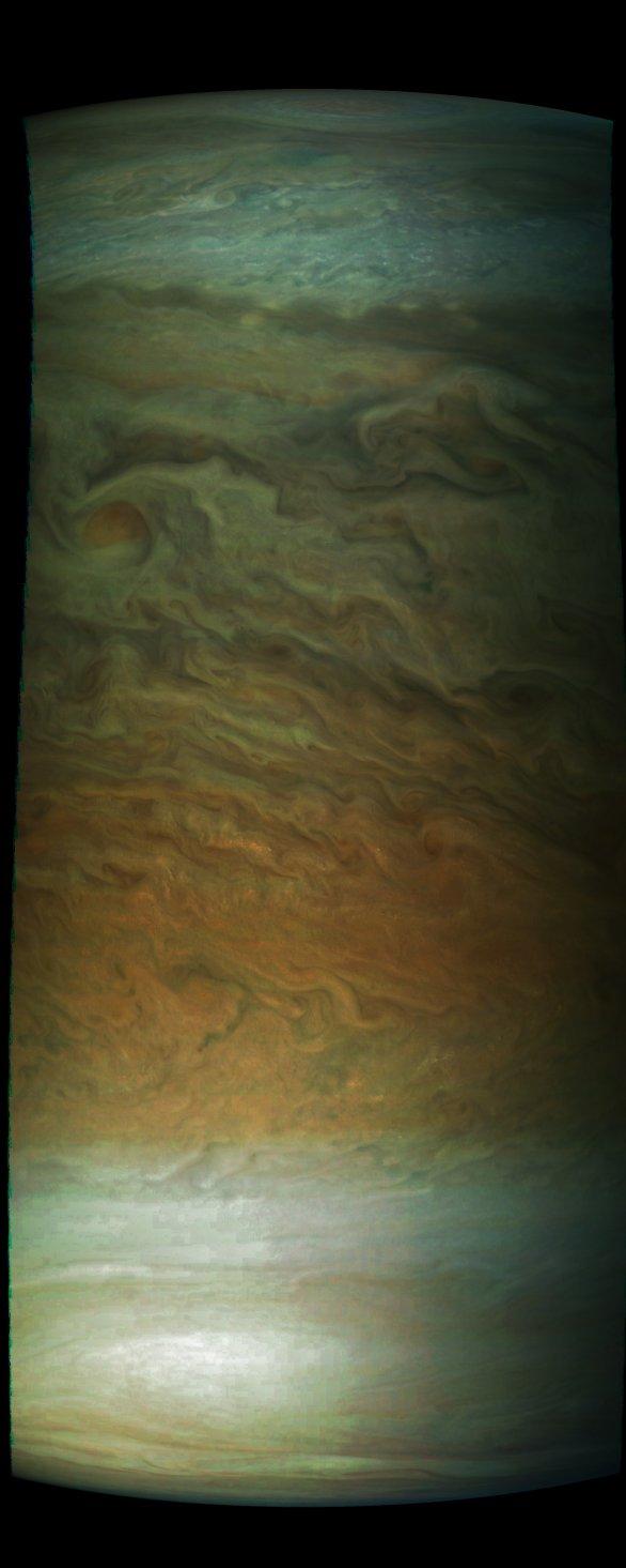 Jeden z rovníkových pásů na JUpiteru, Juno, průlet č. 7 Autor: NASA/SwRI/MSSS/Gérald Eichstädt