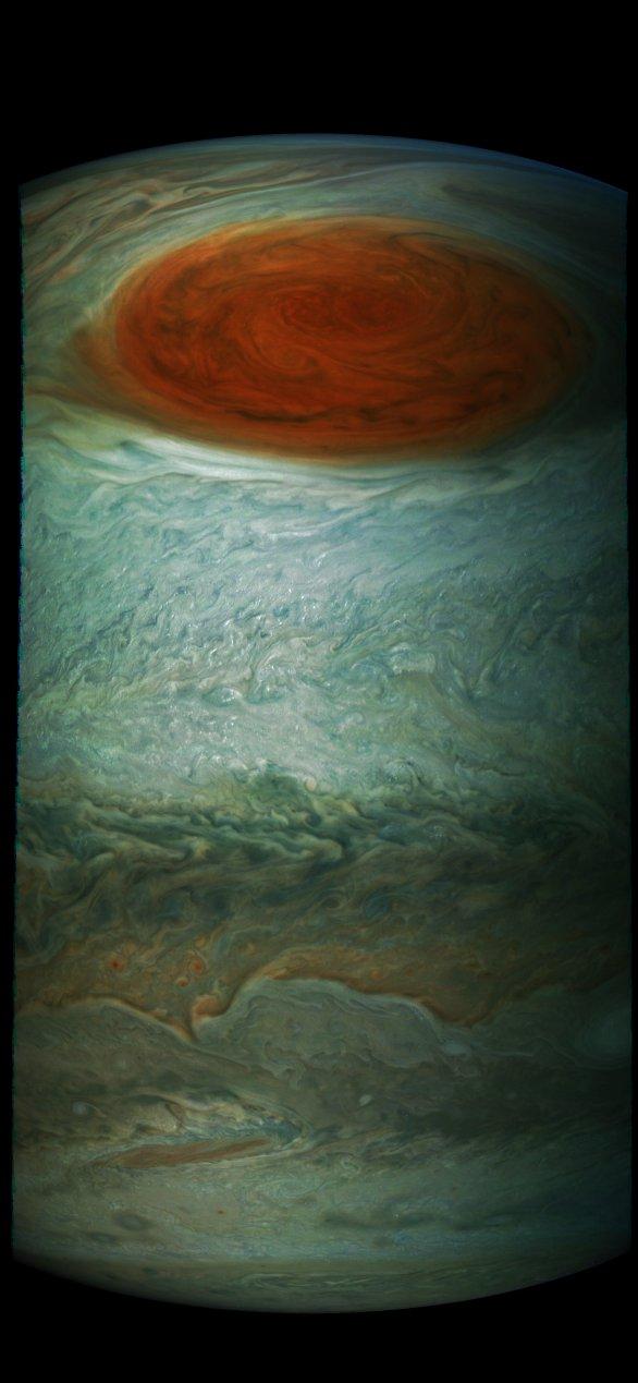 Ještě jeden z pohledů na Velkou červenou skvrnu během vzdalování se jižním směrem, JUno, průlet č. 7 Autor: NASA/SwRI/MSSS/Gérald Eichstädt