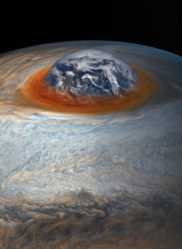 Porovnání Velké červené skvrny na Jupiteru s velikostí Země Autor: NASA/SwRI/MSSS/Séan Doran