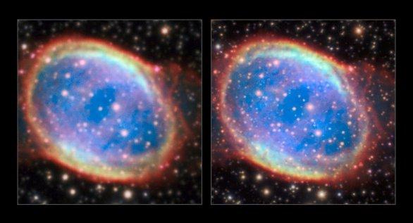 NGC 6563 je planetární mlhovina v souhvězdí Střelce (Sagittarius). Nádherný obrázek je výsledkem symbiózy mezi MUSE a AOF a ukazuje jemné detaily ve stavbě mlhoviny, které jsme nikdy předtím neviděli. Obrázek vlevo je bez použití AOF, obrázek vpravo s použitím AOF. Autor: ESO/P. Weilbacher (AIP)