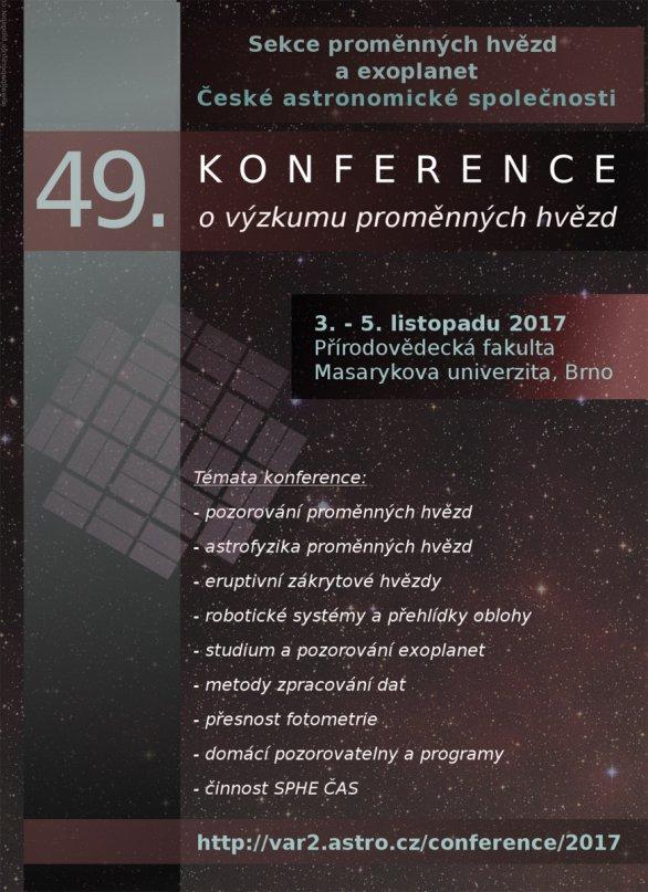 Letáček 49. konference o výzkumu proměnných hvězd Autor: Sekce proměnných hvězd
