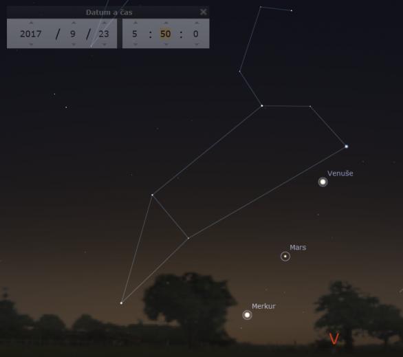 Planety na ranní obloze 23. září 2017 Autor: Stellarium