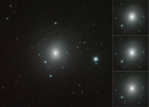 Mozajka zobrazuje sérii snímků zachyujících zjasňování a následný pokles jasnosti kilonovy v galaxii NGC 4993 v průběhu několika týdnů po explozi, ke které došlo 17. srpna 2017. Ze snímků je rovněž patrná změna barvy záření. Snímky pořídil dalekohled VISTA pracující na observatoři Paranal v Chile. Autor: ESO/N.R. Tanvir, A.J. Levan and the VIN-ROUGE collaboration