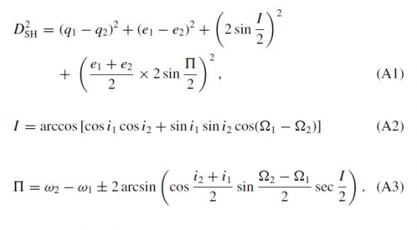 Obr. 2: Rovnice pro výpočet Southworth-Hawkinsova kritéria podobnosti drah meteoroidů (DSH). Autor: Southworth, Hawkins